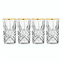 Godinger Dublin Gold Rim Hiball Glasses, Set of 4 - Gold