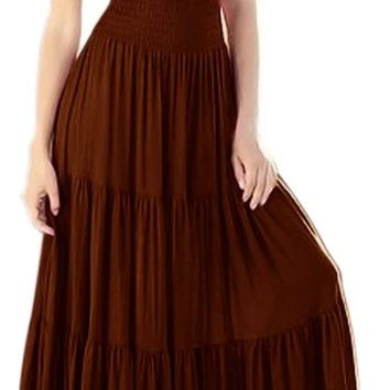 Peach Couture Gypsy Boho Cap Sleeves Smocked Waist Tiered Renaissance Maxi Dress