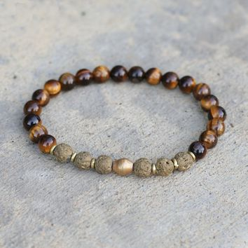 Tiger's Eye and Lava Stone Aromatherapy Bracelet