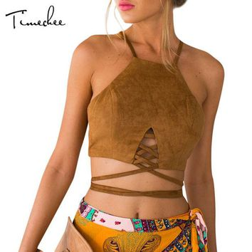 DKF4S Crop Top Women 2017 Timechee New Summer Sexy Beach Deer Suede Bandage Camis Short Backless Halter Tank Tops LYY0123