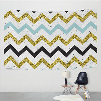 Geometric Chevron Tapestry Wall Hanging Gold Aqua Abstract Wave Zigzag Design for Living Room Bedroom Dorm