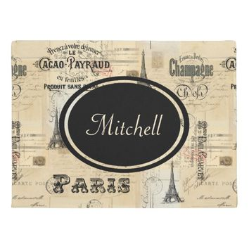 Paris Label Collage French Personalized Doormat