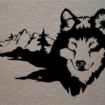 Wolf Wolves Wall Decals Mural Home Decor Vinyl Stickers Decorate Your Bedroom Man Cave Nursery