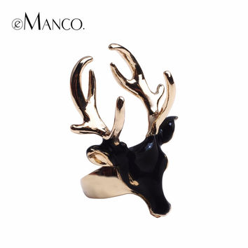 eManco Unique Design Fashion Enamel Cuff Statement Rings for Women & Men Black & White Deer Head Copper Gold Plated Jewelry