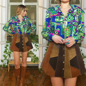 Vintage 1960's 1970's Bright PSYCHEDELIC Tunic Blouse || Unisex