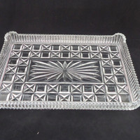 Vintage Dressing Table Tray, Clear Cut Glass Dressing Table Tray,Art Deco Clear Glass Tray, UK Seller