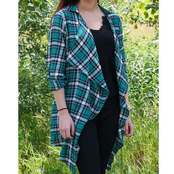Plaid Cardigan with lace