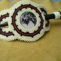 Native American Style Rosette beaded Osprey Hair Stick Barrette in Cream,Black and Red