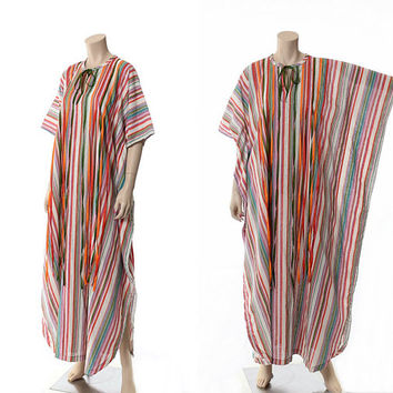 Vintage 60s Alice of California Rainbow Caftan Dress 1960s Multi Colored Ribbons Sheer Gauze Muumuu Hippie Boho Festival Dress / Free Size