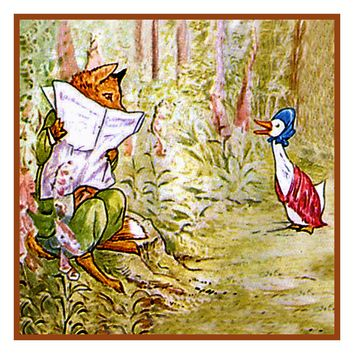 Benjamin Rabbits Produce Store Inspired by Beatrix Potter Counted Cross Stitch Pattern