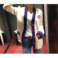 GUCCI Classic Trending Women Casual Bee Embroidery Long Sleeve V Collar Cardigan Knit Jacket Coat