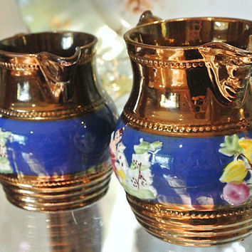 Antique Creamers Copper Lusterware Luster Lustre Pair Pastoral Scenes Cobalt Background England English Pottery Circa 1880s Victorian Era