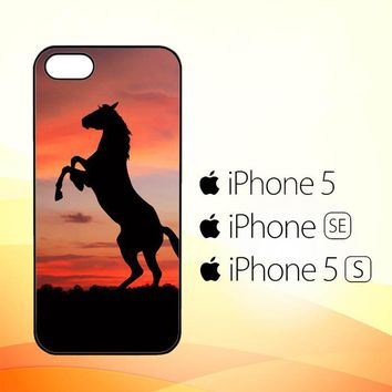 Horse Silhouette On Red Sunset Y1880  iPhone 5|5S|SE Case