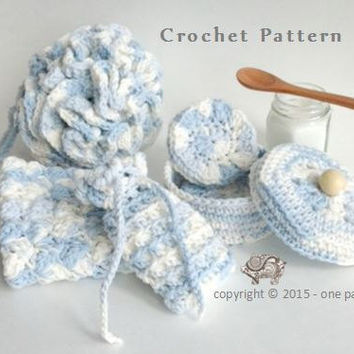 Luxury Spa Gift Set  - 5 piece Crochet Package  - Instant Download CROCHET PATTERN
