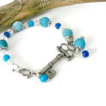 Skeleton Key Bracelet, Antique Silver Bracelet, Glass Beaded Bracelet, Blue Bracelet, Gift for Her