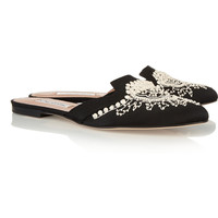 Oscar de la Renta Spanish Mule embellished satin slippers – 50% at THE OUTNET.COM