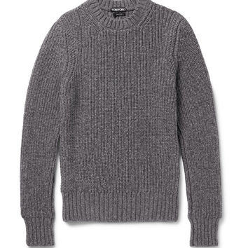 Tom Ford - Slim-Fit Ribbed Mélange Cashmere and Wool-Blend Sweater