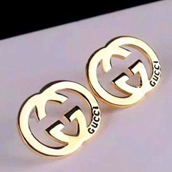 GUCCI Classic Popular Women Simple Stud Earring Jewelry Accessories Golden I/A