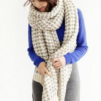 Female Long Thick Autumn and Winter New couple Collar Knitted Wool Shawl Scarf Dual-use Scarves