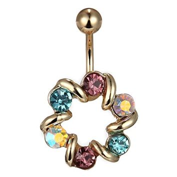 BodyJ4You  Wreath Gems Multi Color Crystal Belly Button Ring Goldtone