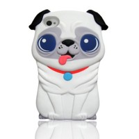 I Need (TM) Cute 3D White Pekingese Dog Soft Silicone Case Cover Compatible For iPhone 4 4s 4G With 3D Alien Stylus Pen