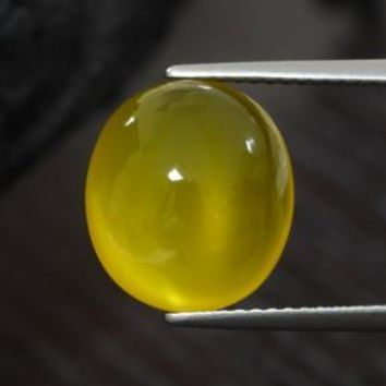 5.44 ct  Oval Cabochon Yellow Agate 12.6 x 11.3 mm