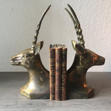 Vintage Brass Antelope Bookends, Brass Animals, Accents, Vintage Home Decor, Large Antelope Figure, Glam Horned Animal Decor