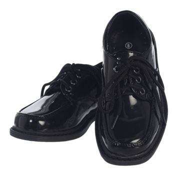 Black Patent Finish Oxford Lace Tie Dress Shoes (Boys 8 toddler - 6 youth)