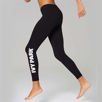 Heyouthoney fashion high quality women casual fitness beyonce ivy park letter print elastic slim leggings legins pants