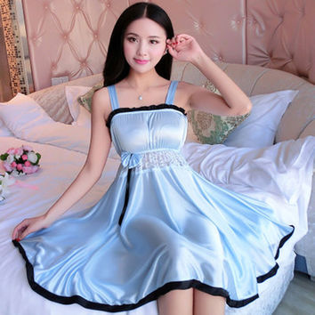 Spaghetti Strap Sleepwear Women Silk Nightwear Nightgowns Lace Sexy Lingerie Plus Size XL Female Solid Nightwear Lingerie