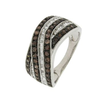 1.0 cttw Brown and White Diamond Criss Cross 925 Sterling Silver Ring