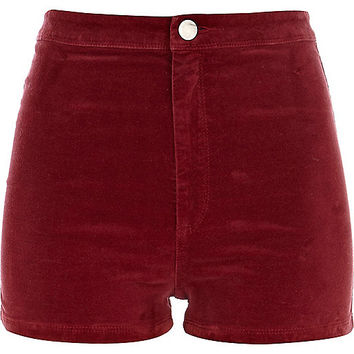 River Island Womens Red corduroy high waisted shorts