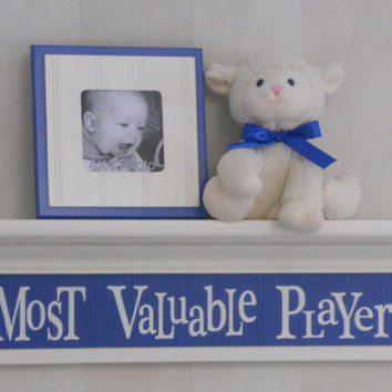 "Most Valuable Player on 24"" Shelf Linen White and Blue Sport Wall Decor Baby Boy Nursery MVP Shelves Shower Gift"