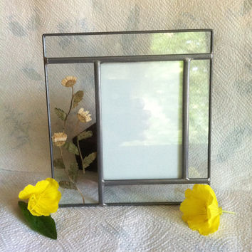 Stained Glass Floral Photo Frame Carr Botanical Leaded Glass Picture Frame With Yellow Pressed Natural Flowers Vintage Country Cottage Decor