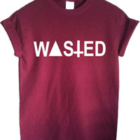 WASTED burgundy maroon t-shirt top shirt loose hipster swag dope youth shop