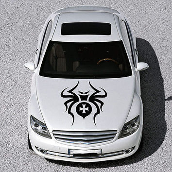 EVIL SPIDER ANIMAL, CROSS DESIGN HOOD CAR VINYL STICKER DECALS ART MURALS SV1152