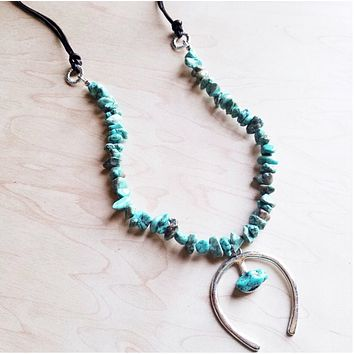 Turquoise Squash Blossom Necklace with Naja Pendant