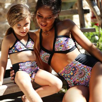 Mother and Daughter Floral Swimsuit