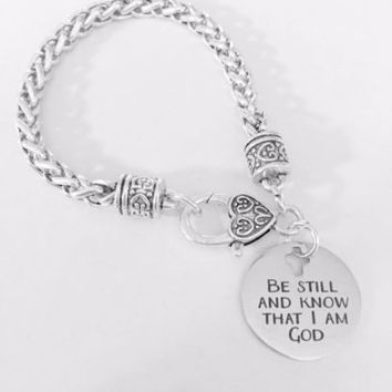 Be Still And Know That I Am God Christian Bible Scripture Faith Charm Bracelet