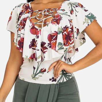 White Floral  Lace-Up Top