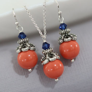 Swarovski Coral Jewelry Set, Coral and Dark Sapphire (Navy) Crystal Necklace and Earring Set, Coral Bridesmaid Jewelry Set