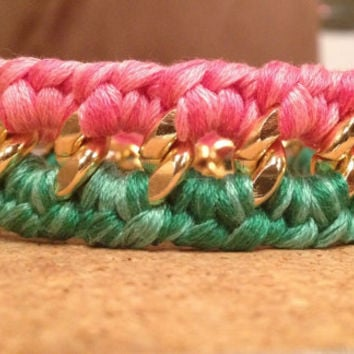 Double Woven Chunky Chain Bracelet
