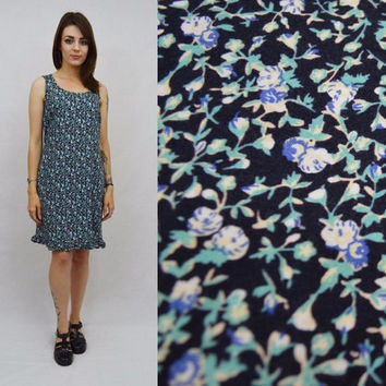 90s Floral Dress MED Soft Grunge Boho Hippie Ruffle Blue Womens Vintage Clothing Knee Length Short Dress Navy Blue Tiny Flowers 1990s Tank