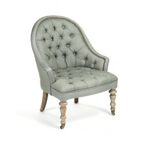 Zentique Tufted Club Chair in Green Shade with Two Wheels