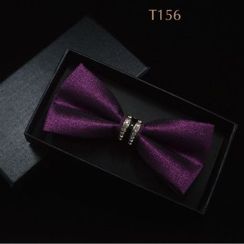 Jacquard Floral Bow Tie Cashew Flowers Rose Butterfly Knot Metal Buckle Crystal Cravats Men Women Grooms Banquet Wedding Meeting