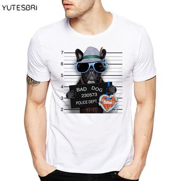 New brand clothing Summer Fashion French Bulldog Design T Shirt Men's High Quality dog Tops Hipster Tees funny t-shirt for men