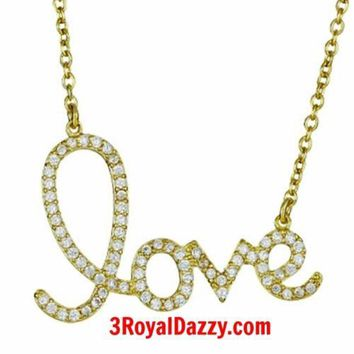 """New 925 STERLING SILVER CZ BLING Heart Love Script CHARM Pendant Necklace 16-18"""""""
