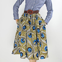 The Shavon -African Print 100% Holland Wax Cotton/Metallic Midi Skirt