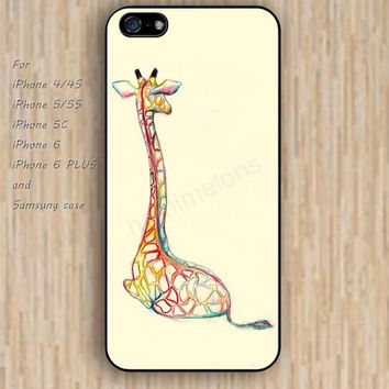 iPhone 5s 6 case Cartoon giraffe case watercolor phone case iphone case,ipod case,samsung galaxy case available plastic rubber case waterproof B267
