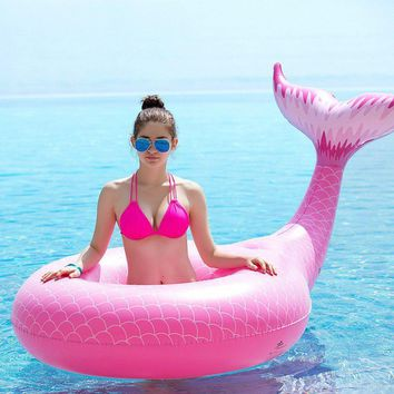 Giant Inflatable Mermaid Tail Pool Float in Pink